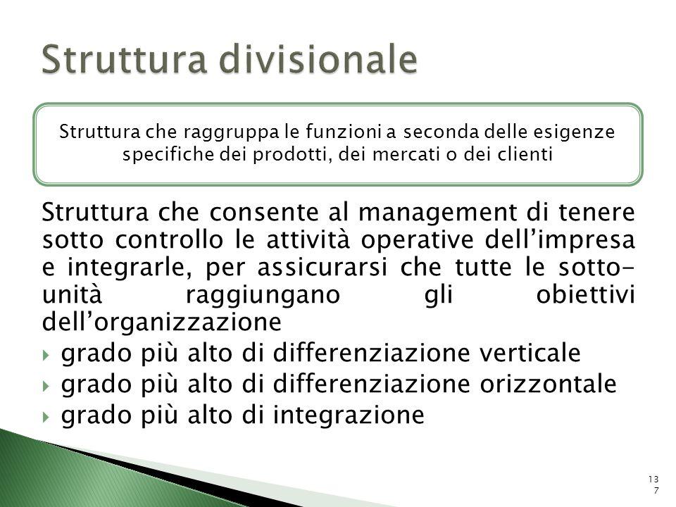 Struttura che consente al management di tenere sotto controllo le attività operative dellimpresa e integrarle, per assicurarsi che tutte le sotto- uni