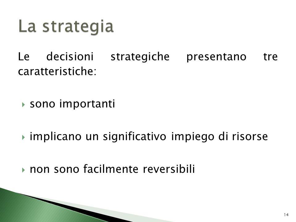 Le decisioni strategiche presentano tre caratteristiche: sono importanti implicano un significativo impiego di risorse non sono facilmente reversibili