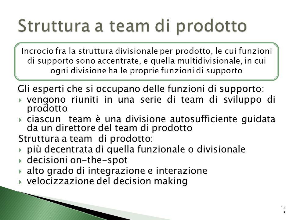 Gli esperti che si occupano delle funzioni di supporto: vengono riuniti in una serie di team di sviluppo di prodotto ciascun team è una divisione auto