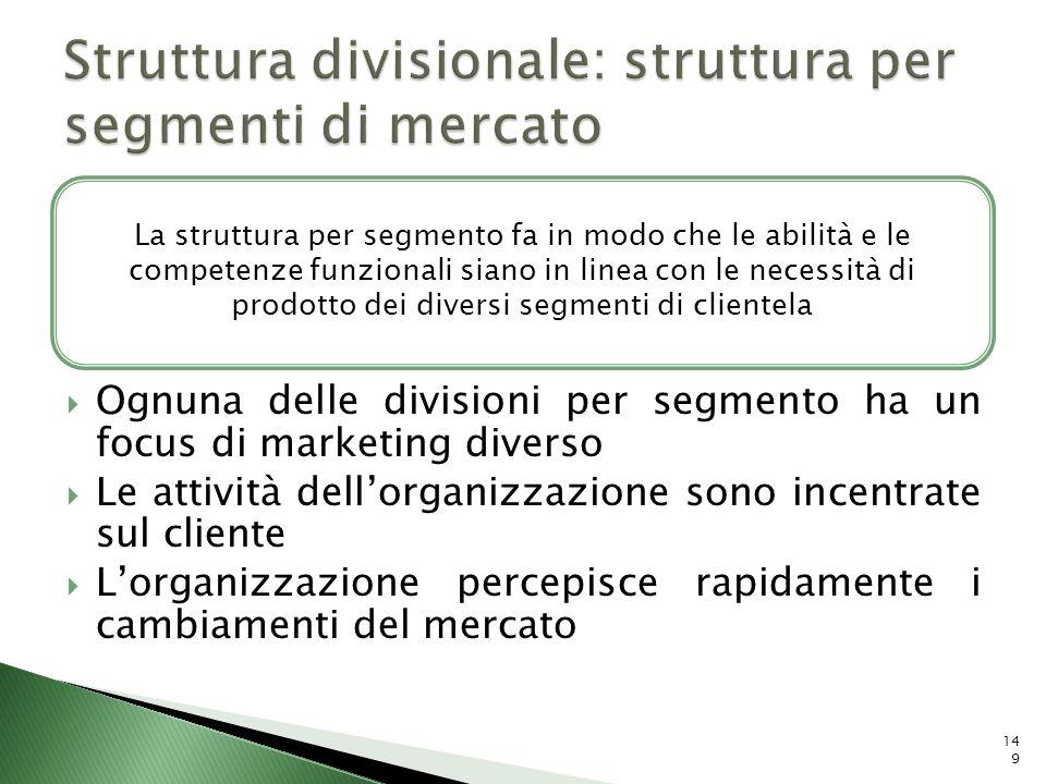 Ognuna delle divisioni per segmento ha un focus di marketing diverso Le attività dellorganizzazione sono incentrate sul cliente Lorganizzazione percep
