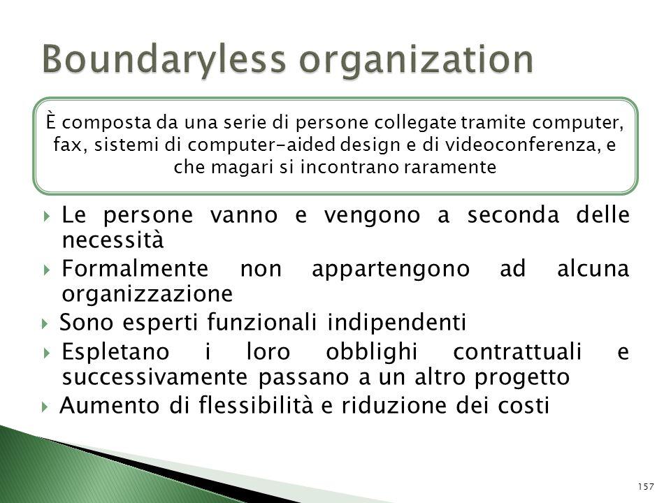 Le persone vanno e vengono a seconda delle necessità Formalmente non appartengono ad alcuna organizzazione Sono esperti funzionali indipendenti Esplet