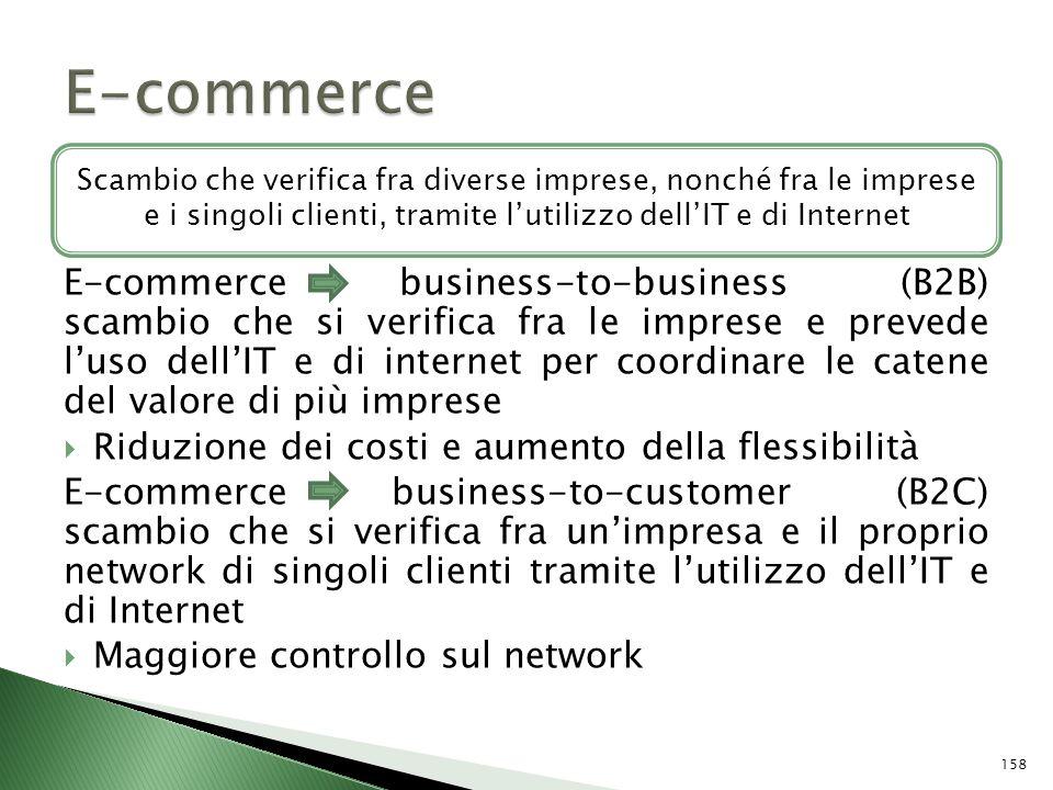 E-commerce business-to-business (B2B) scambio che si verifica fra le imprese e prevede luso dellIT e di internet per coordinare le catene del valore d