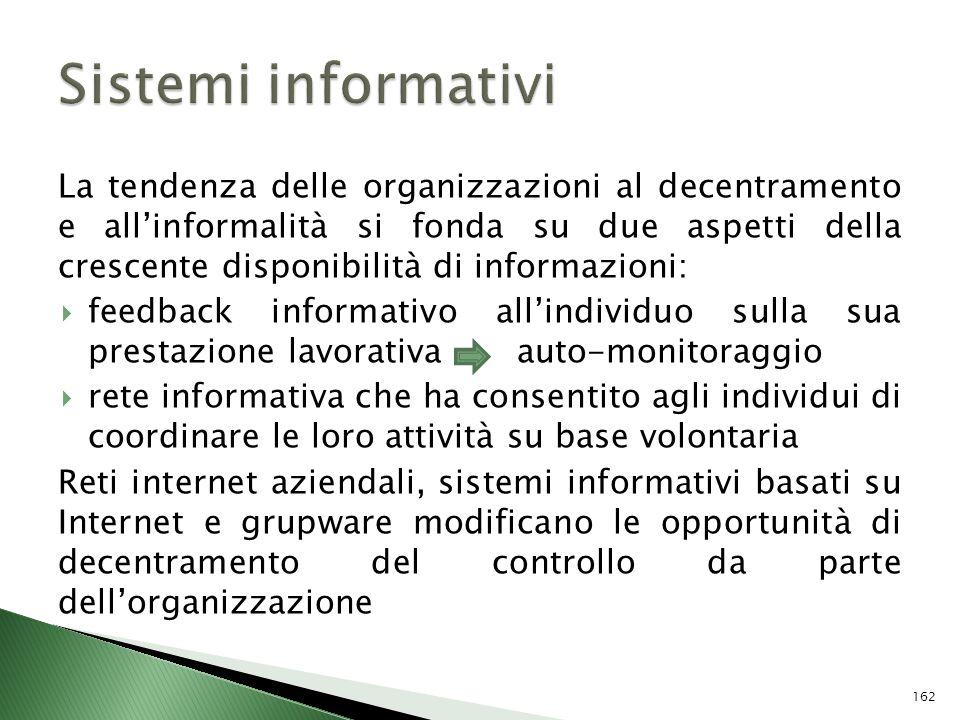 La tendenza delle organizzazioni al decentramento e allinformalità si fonda su due aspetti della crescente disponibilità di informazioni: feedback inf