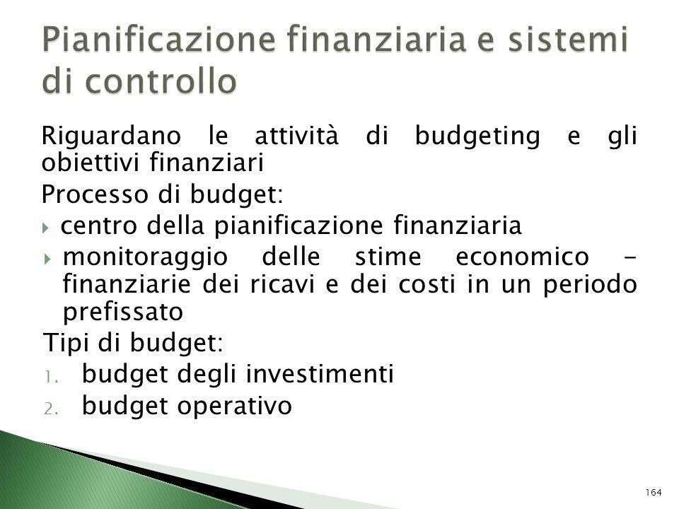 Riguardano le attività di budgeting e gli obiettivi finanziari Processo di budget: centro della pianificazione finanziaria monitoraggio delle stime ec