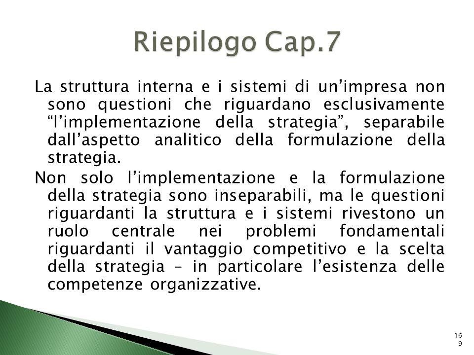 La struttura interna e i sistemi di unimpresa non sono questioni che riguardano esclusivamente limplementazione della strategia, separabile dallaspett
