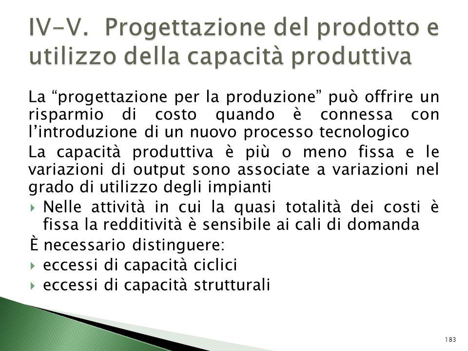 La progettazione per la produzione può offrire un risparmio di costo quando è connessa con lintroduzione di un nuovo processo tecnologico La capacità