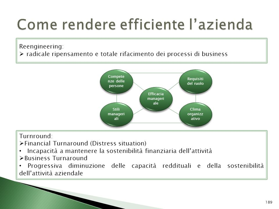 Efficacia manageri ale Compete nze delle persone Requisiti del ruolo Stili manageri ali Clima organizz ativo Turnround: Financial Turnaround (Distress