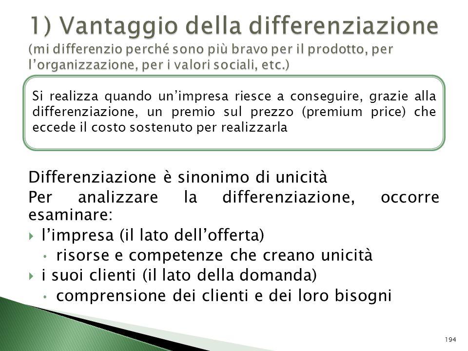 Differenziazione è sinonimo di unicità Per analizzare la differenziazione, occorre esaminare: limpresa (il lato dellofferta) risorse e competenze che