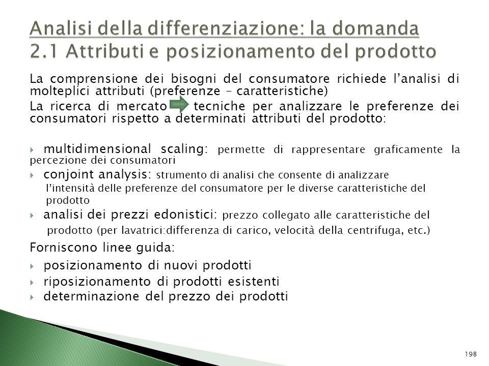 La comprensione dei bisogni del consumatore richiede lanalisi di molteplici attributi (preferenze – caratteristiche) La ricerca di mercato tecniche pe