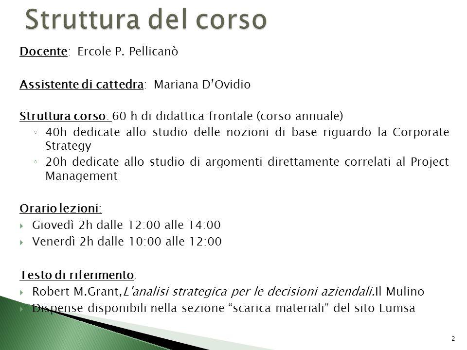 Docente: Ercole P. Pellicanò Assistente di cattedra: Mariana DOvidio Struttura corso: 60 h di didattica frontale (corso annuale) 40h dedicate allo stu