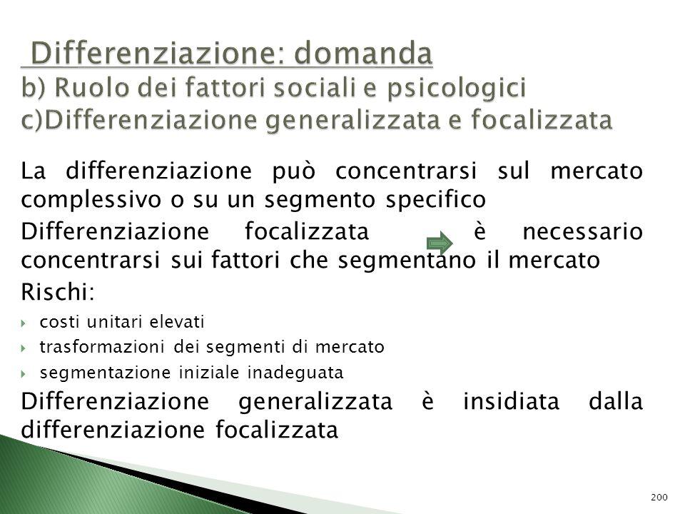 La differenziazione può concentrarsi sul mercato complessivo o su un segmento specifico Differenziazione focalizzata è necessario concentrarsi sui fat