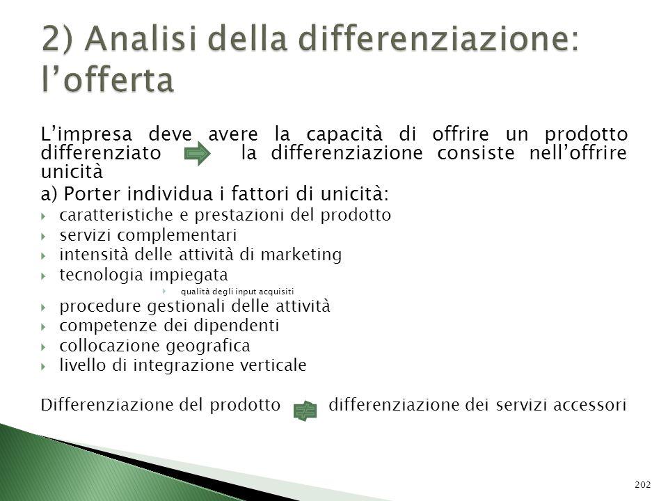 Limpresa deve avere la capacità di offrire un prodotto differenziato la differenziazione consiste nelloffrire unicità a) Porter individua i fattori di