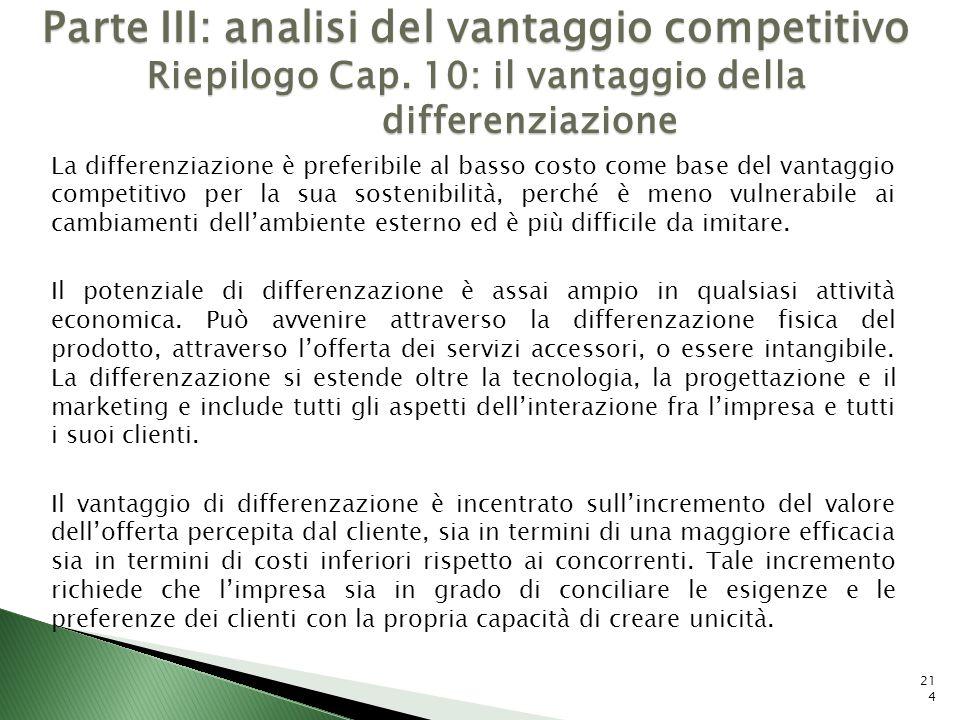 214 Parte III: analisi del vantaggio competitivo Riepilogo Cap. 10: il vantaggio della differenziazione La differenziazione è preferibile al basso cos