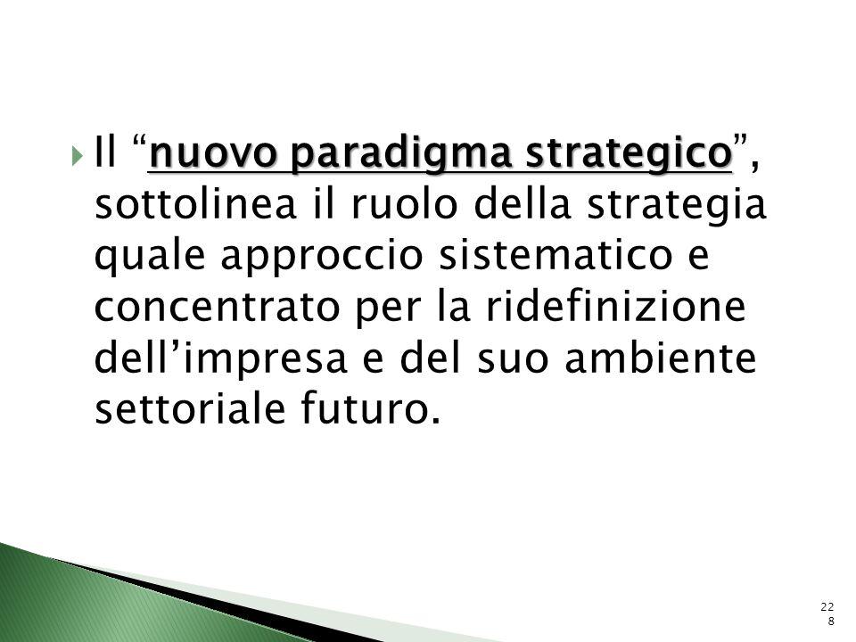 nuovo paradigma strategico Il nuovo paradigma strategico, sottolinea il ruolo della strategia quale approccio sistematico e concentrato per la ridefin