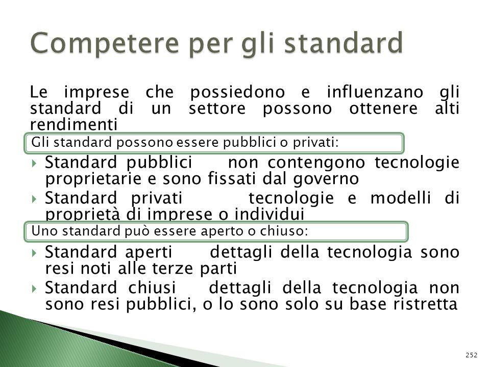 Le imprese che possiedono e influenzano gli standard di un settore possono ottenere alti rendimenti Standard pubblici non contengono tecnologie propri