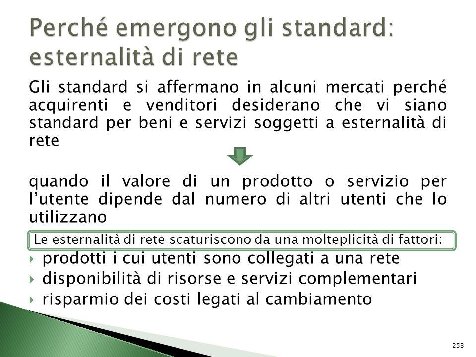 Gli standard si affermano in alcuni mercati perché acquirenti e venditori desiderano che vi siano standard per beni e servizi soggetti a esternalità d