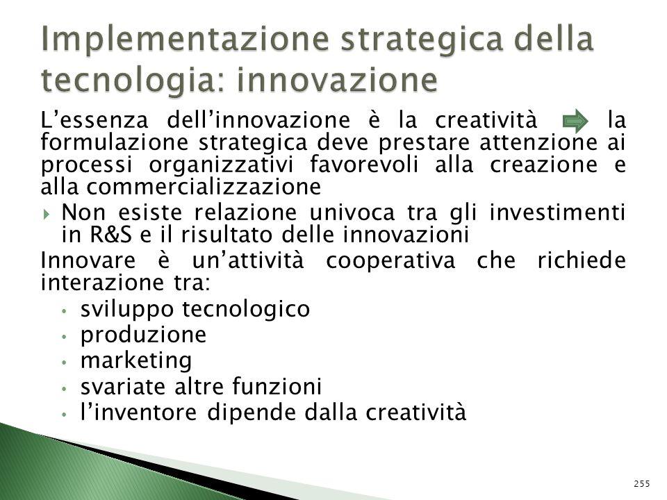 Lessenza dellinnovazione è la creatività la formulazione strategica deve prestare attenzione ai processi organizzativi favorevoli alla creazione e all
