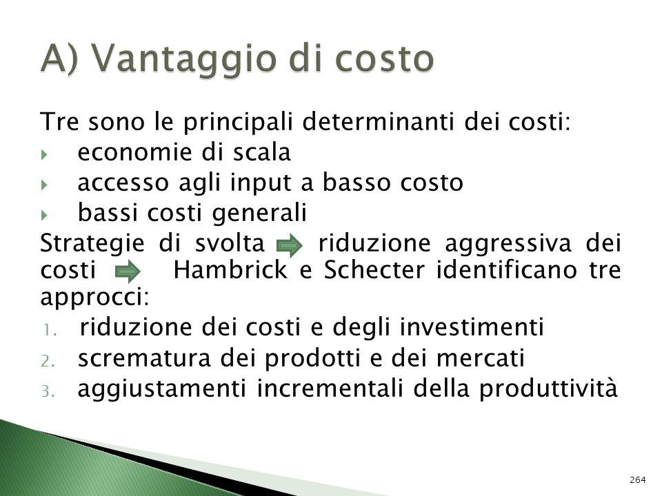 Tre sono le principali determinanti dei costi: economie di scala accesso agli input a basso costo bassi costi generali Strategie di svolta riduzione a