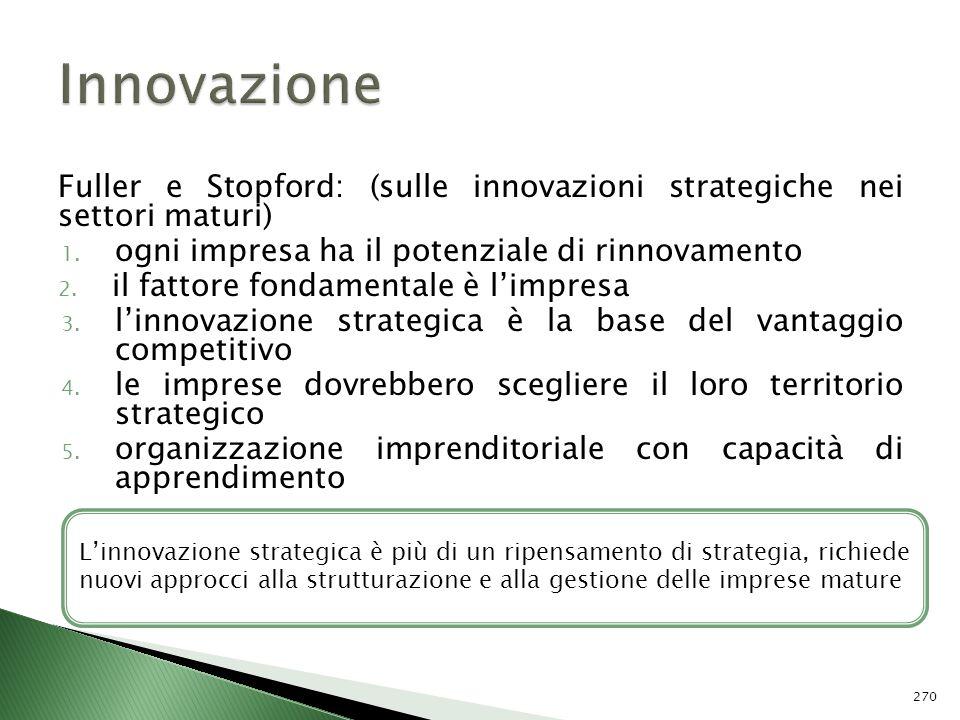 Fuller e Stopford: (sulle innovazioni strategiche nei settori maturi) 1. ogni impresa ha il potenziale di rinnovamento 2. il fattore fondamentale è li
