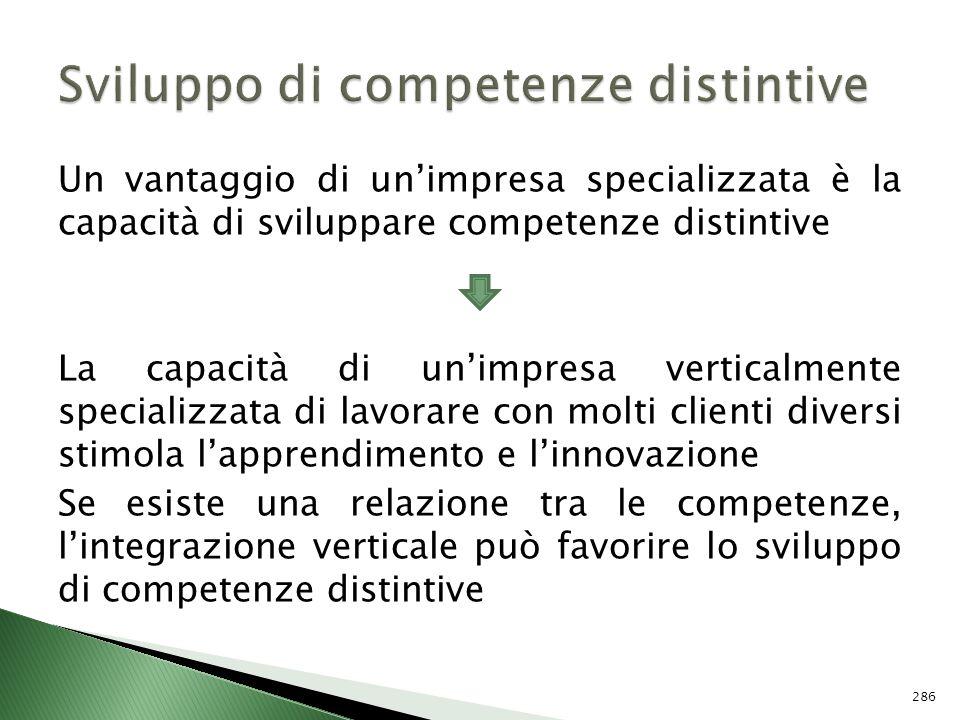 Un vantaggio di unimpresa specializzata è la capacità di sviluppare competenze distintive La capacità di unimpresa verticalmente specializzata di lavo