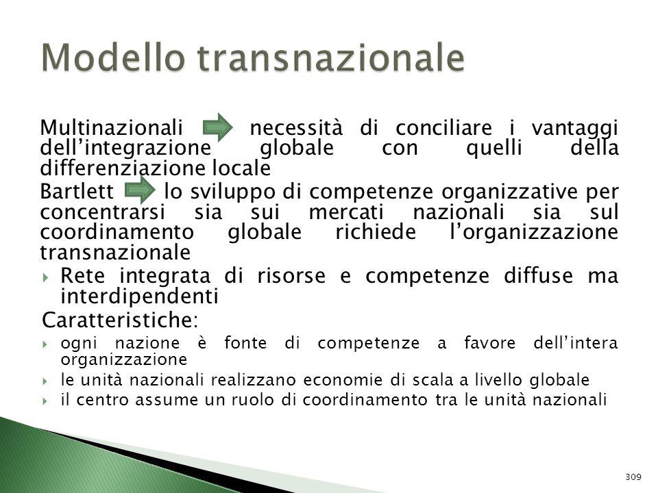 Multinazionali necessità di conciliare i vantaggi dellintegrazione globale con quelli della differenziazione locale Bartlett lo sviluppo di competenze