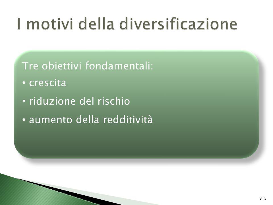 Tre obiettivi fondamentali: crescita riduzione del rischio aumento della redditività Tre obiettivi fondamentali: crescita riduzione del rischio aument