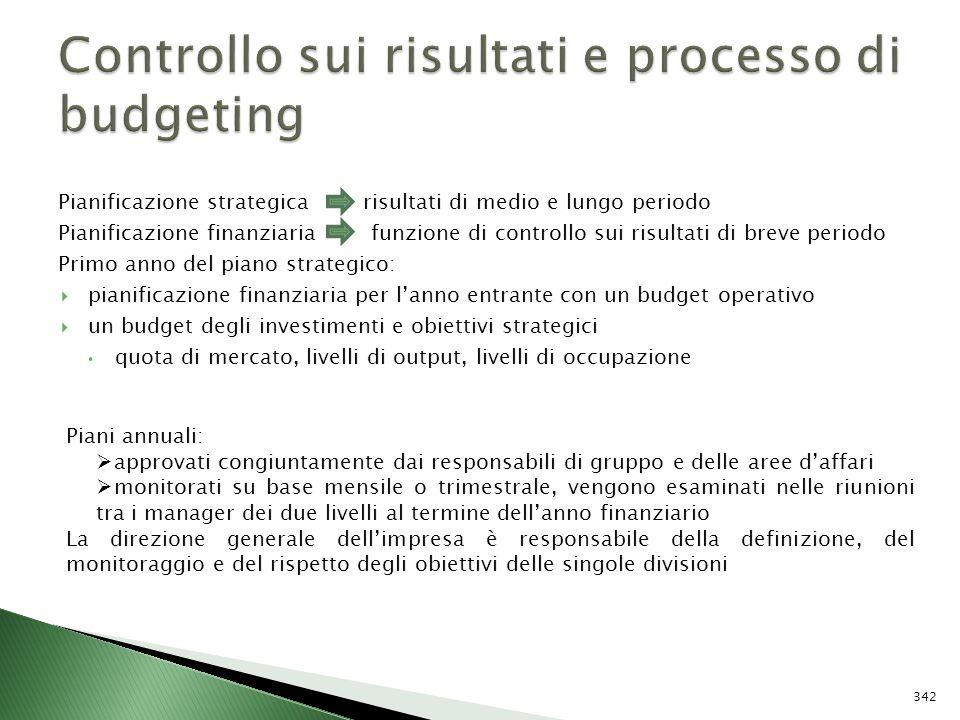 Pianificazione strategica risultati di medio e lungo periodo Pianificazione finanziaria funzione di controllo sui risultati di breve periodo Primo ann