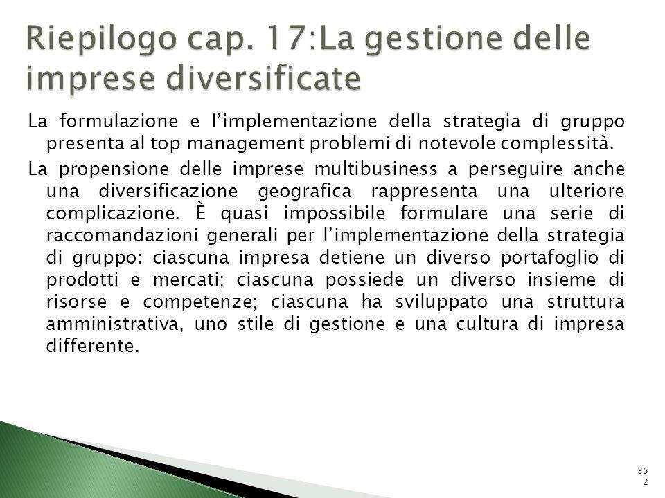 La formulazione e limplementazione della strategia di gruppo presenta al top management problemi di notevole complessità. La propensione delle imprese