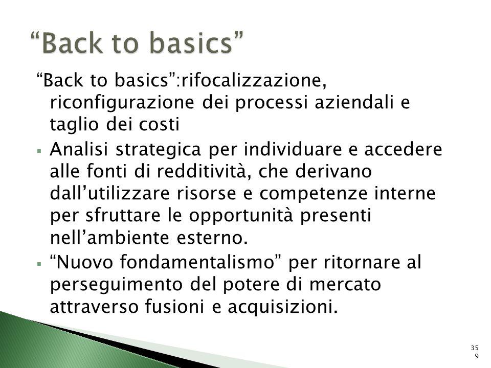 Back to basics:rifocalizzazione, riconfigurazione dei processi aziendali e taglio dei costi Analisi strategica per individuare e accedere alle fonti d