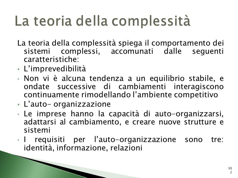 La teoria della complessità spiega il comportamento dei sistemi complessi, accomunati dalle seguenti caratteristiche: Limprevedibilità Non vi è alcuna