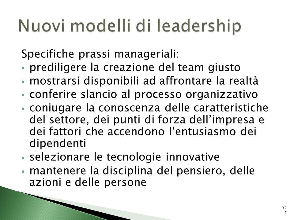 Specifiche prassi manageriali: prediligere la creazione del team giusto mostrarsi disponibili ad affrontare la realtà conferire slancio al processo or