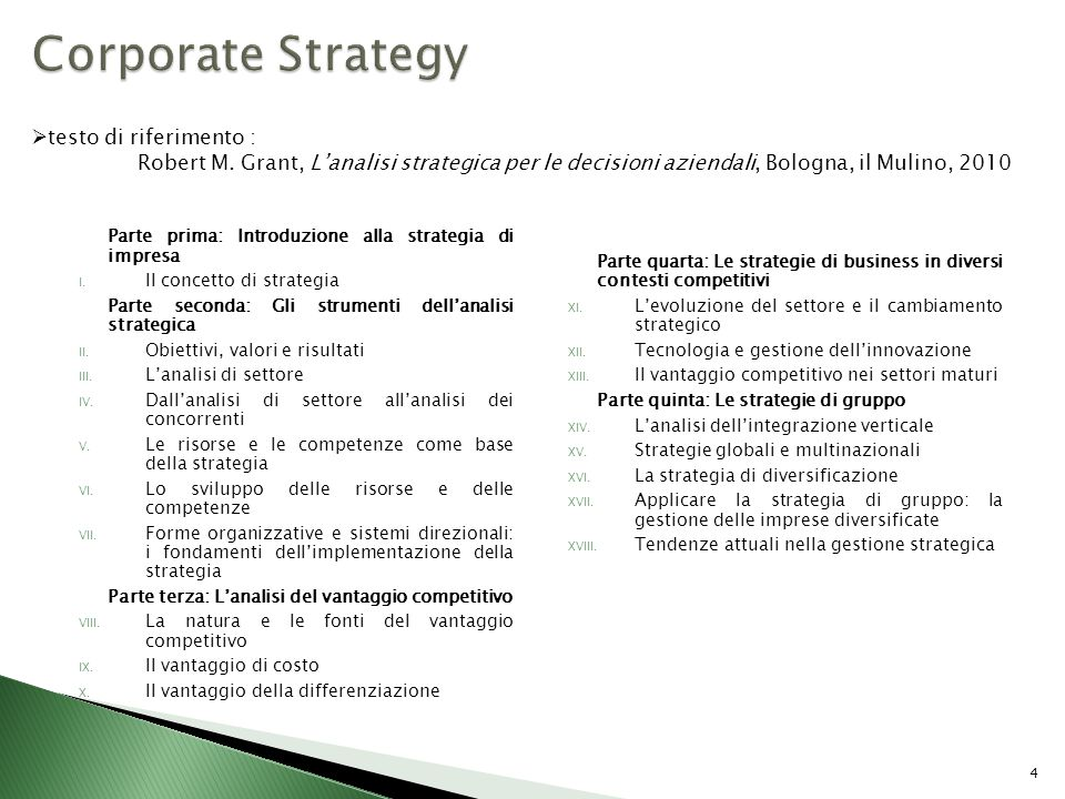 Parte prima: Introduzione alla strategia di impresa I. Il concetto di strategia Parte seconda: Gli strumenti dellanalisi strategica II. Obiettivi, val