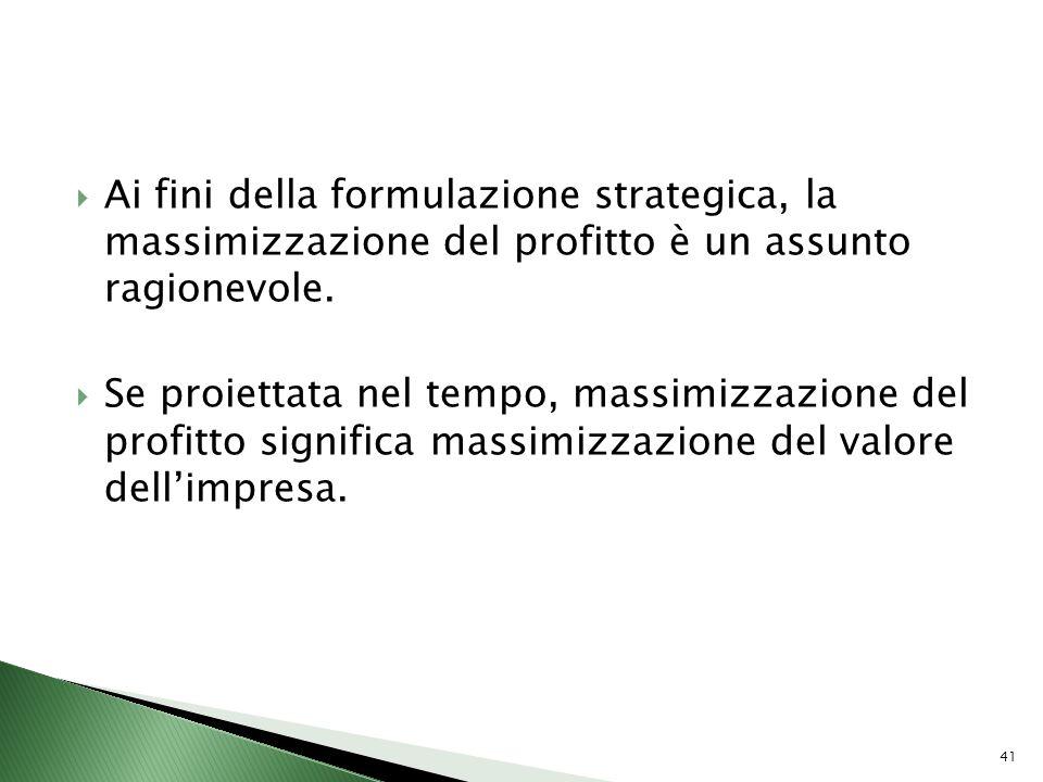 Ai fini della formulazione strategica, la massimizzazione del profitto è un assunto ragionevole. Se proiettata nel tempo, massimizzazione del profitto