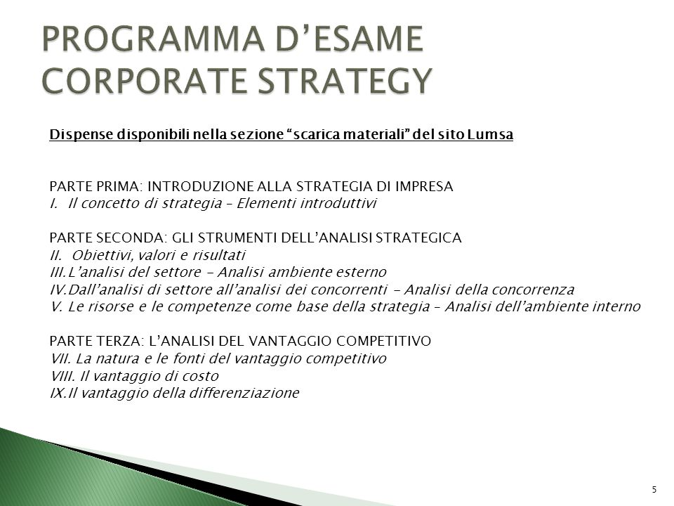 II Parte Strategia dimpresa e strumenti di analisi strategica