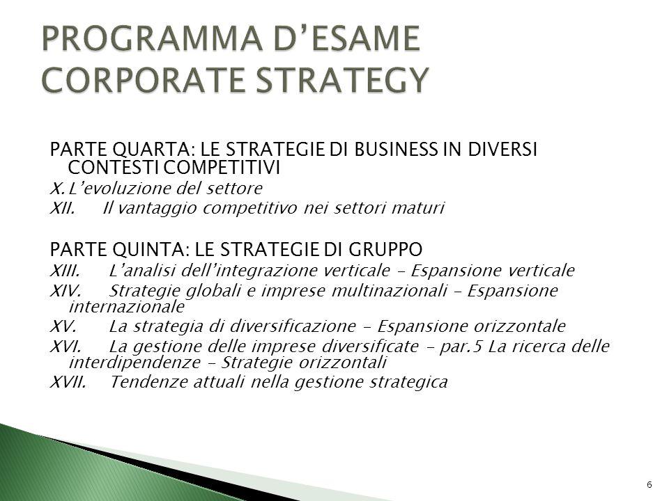 PARTE QUARTA: LE STRATEGIE DI BUSINESS IN DIVERSI CONTESTI COMPETITIVI X.Levoluzione del settore XII. Il vantaggio competitivo nei settori maturi PART