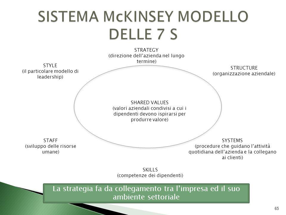 STYLE (il particolare modello di leadership) STAFF (sviluppo delle risorse umane) SKILLS (competenze dei dipendenti) STRUCTURE (organizzazione azienda