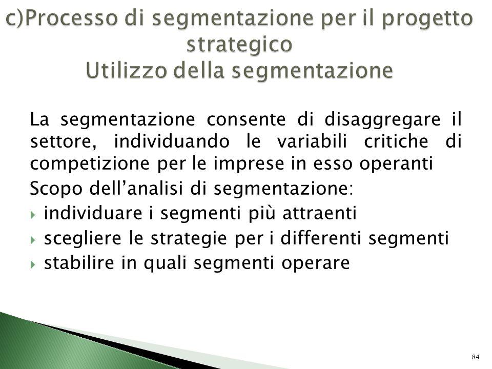La segmentazione consente di disaggregare il settore, individuando le variabili critiche di competizione per le imprese in esso operanti Scopo dellana