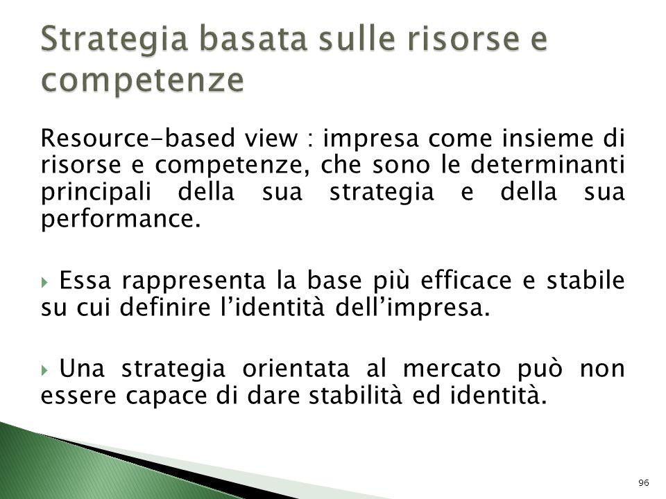 Resource-based view : impresa come insieme di risorse e competenze, che sono le determinanti principali della sua strategia e della sua performance. E