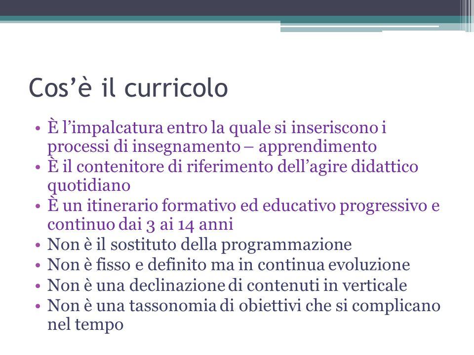 Cosè il curricolo È limpalcatura entro la quale si inseriscono i processi di insegnamento – apprendimento È il contenitore di riferimento dellagire di