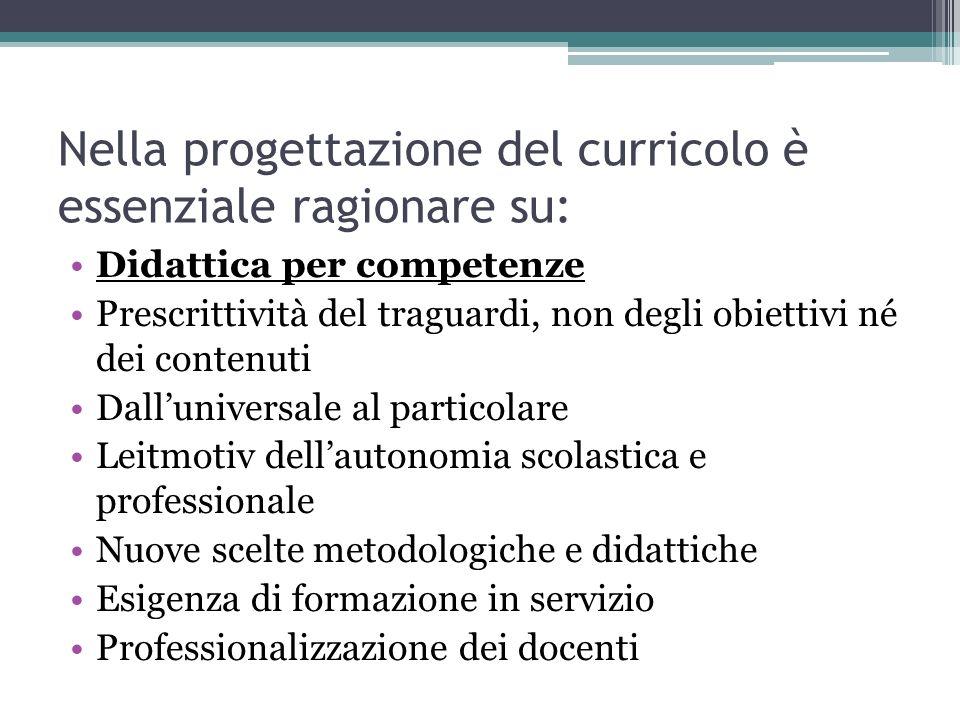 Nella progettazione del curricolo è essenziale ragionare su: Didattica per competenze Prescrittività del traguardi, non degli obiettivi né dei contenu