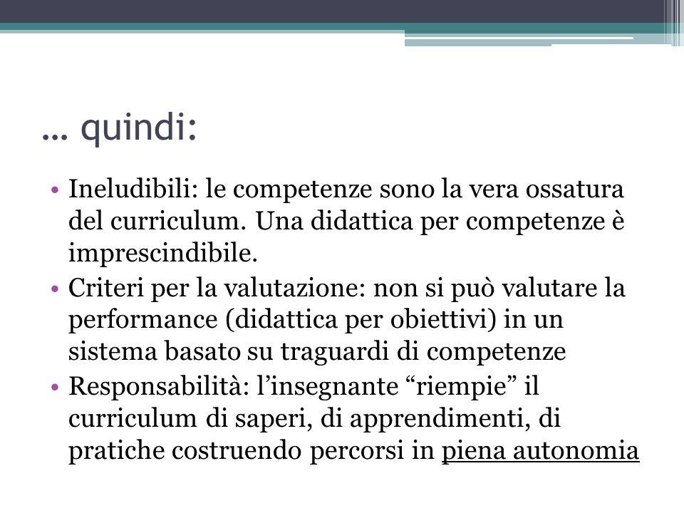 … quindi: Ineludibili: le competenze sono la vera ossatura del curriculum. Una didattica per competenze è imprescindibile. Criteri per la valutazione: