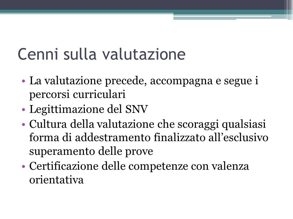 Cenni sulla valutazione La valutazione precede, accompagna e segue i percorsi curriculari Legittimazione del SNV Cultura della valutazione che scoragg