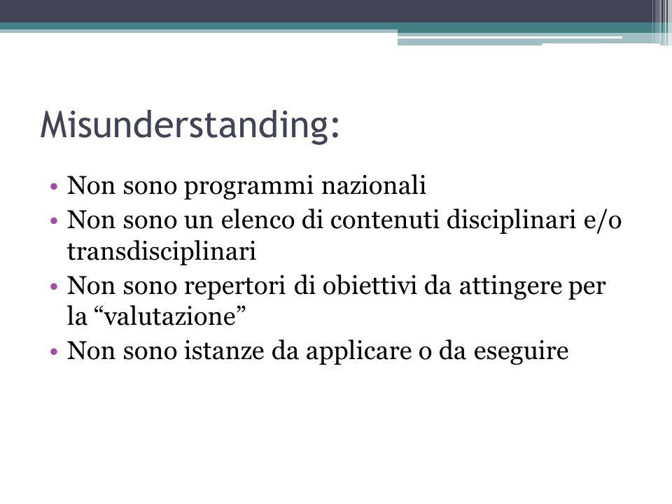 Misunderstanding: Non sono programmi nazionali Non sono un elenco di contenuti disciplinari e/o transdisciplinari Non sono repertori di obiettivi da a