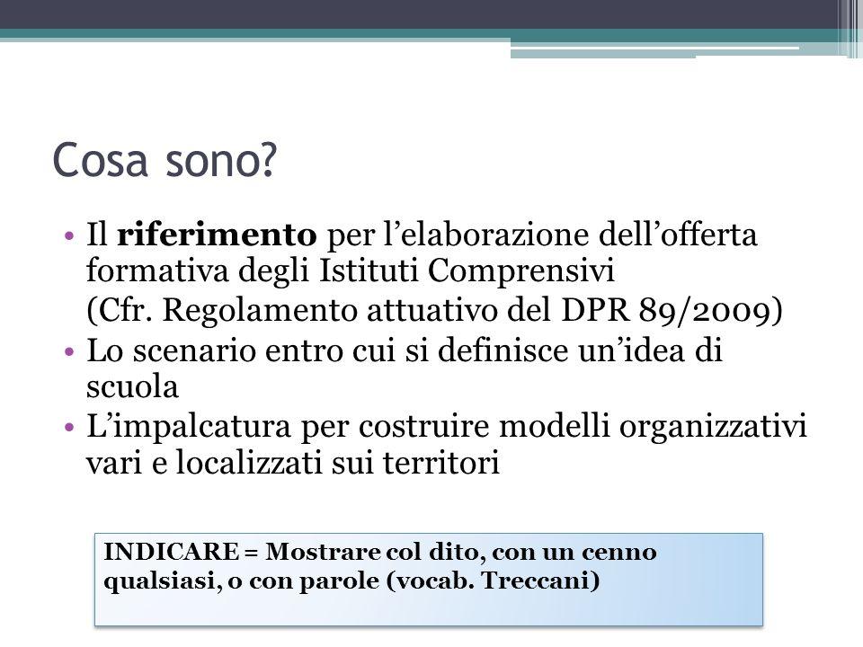 Cosa sono? Il riferimento per lelaborazione dellofferta formativa degli Istituti Comprensivi (Cfr. Regolamento attuativo del DPR 89/2009) Lo scenario