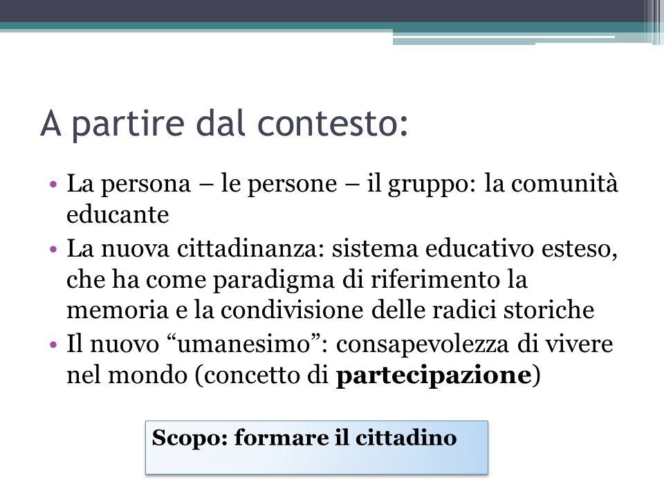 A partire dal contesto: La persona – le persone – il gruppo: la comunità educante La nuova cittadinanza: sistema educativo esteso, che ha come paradig