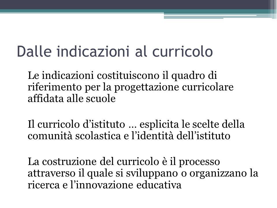 Dalle indicazioni al curricolo Le indicazioni costituiscono il quadro di riferimento per la progettazione curricolare affidata alle scuole Il curricol