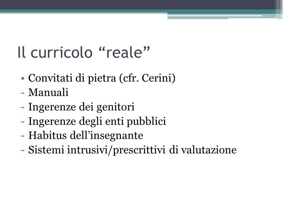 Il curricolo reale Convitati di pietra (cfr. Cerini) -Manuali -Ingerenze dei genitori -Ingerenze degli enti pubblici -Habitus dellinsegnante -Sistemi