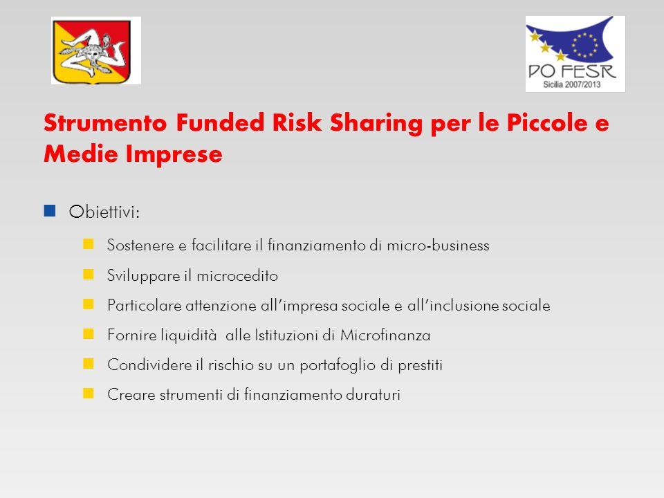 Strumento Funded Risk Sharing per le Piccole e Medie Imprese Obiettivi: Ottenere un effetto di leva con i Fondi Strutturali Fornire copertura di risch