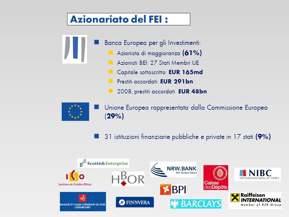 Azionariato del FEI : Banca Europea per gli Investimenti: Azionista di maggioranza (61%) Azionisti BEI: 27 Stati Membri UE Capitale sottoscritto: EUR 165md Prestiti accordati: EUR 291bn 2008, prestiti accordati EUR 48bn Unione Europea rappresentata dalla Commissione Europea ( 29%) 31 istituzioni finanziarie pubbliche e private in 17 stati (9%)