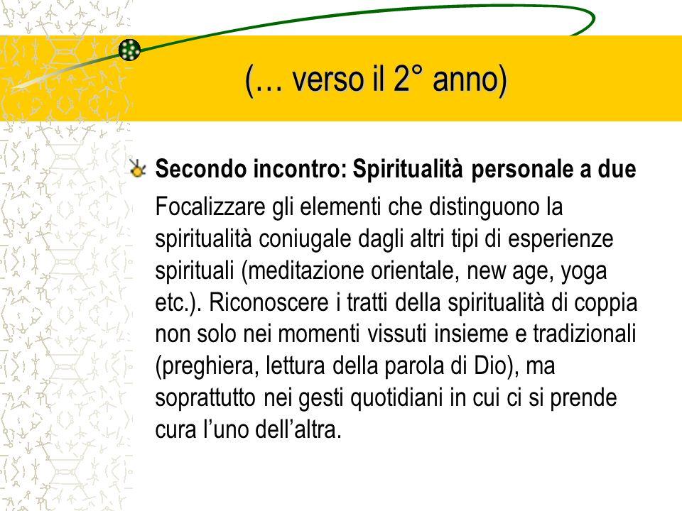 (… verso il 2° anno) Secondo incontro: Spiritualità personale a due Focalizzare gli elementi che distinguono la spiritualità coniugale dagli altri tip